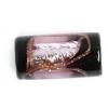 Glass Lamp Bead 16x8mm Tube Black/Rosaline/Gold Silver Foiled